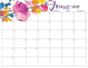 Cute June Calendar 2020 Printable