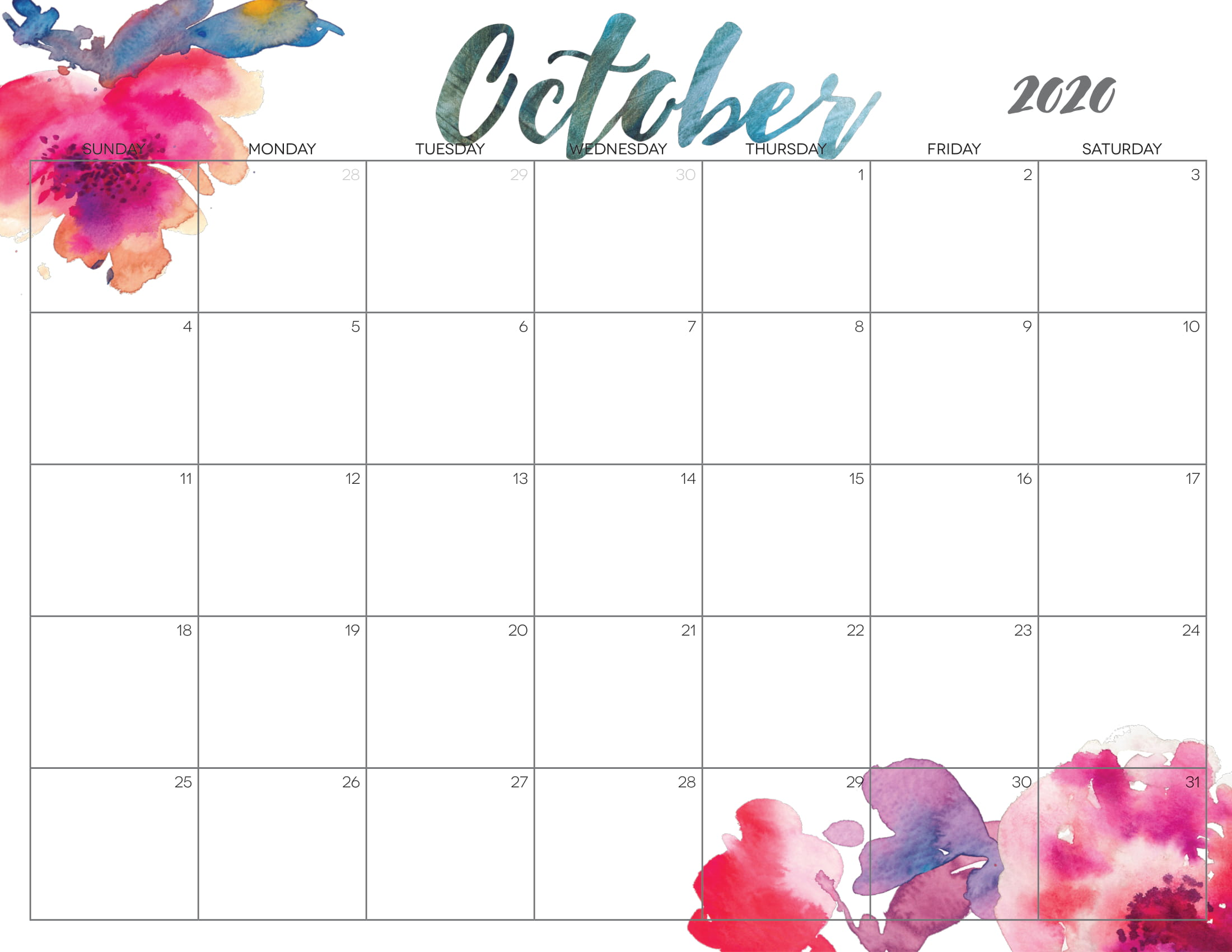 Cute October Calendar 2020 Printable