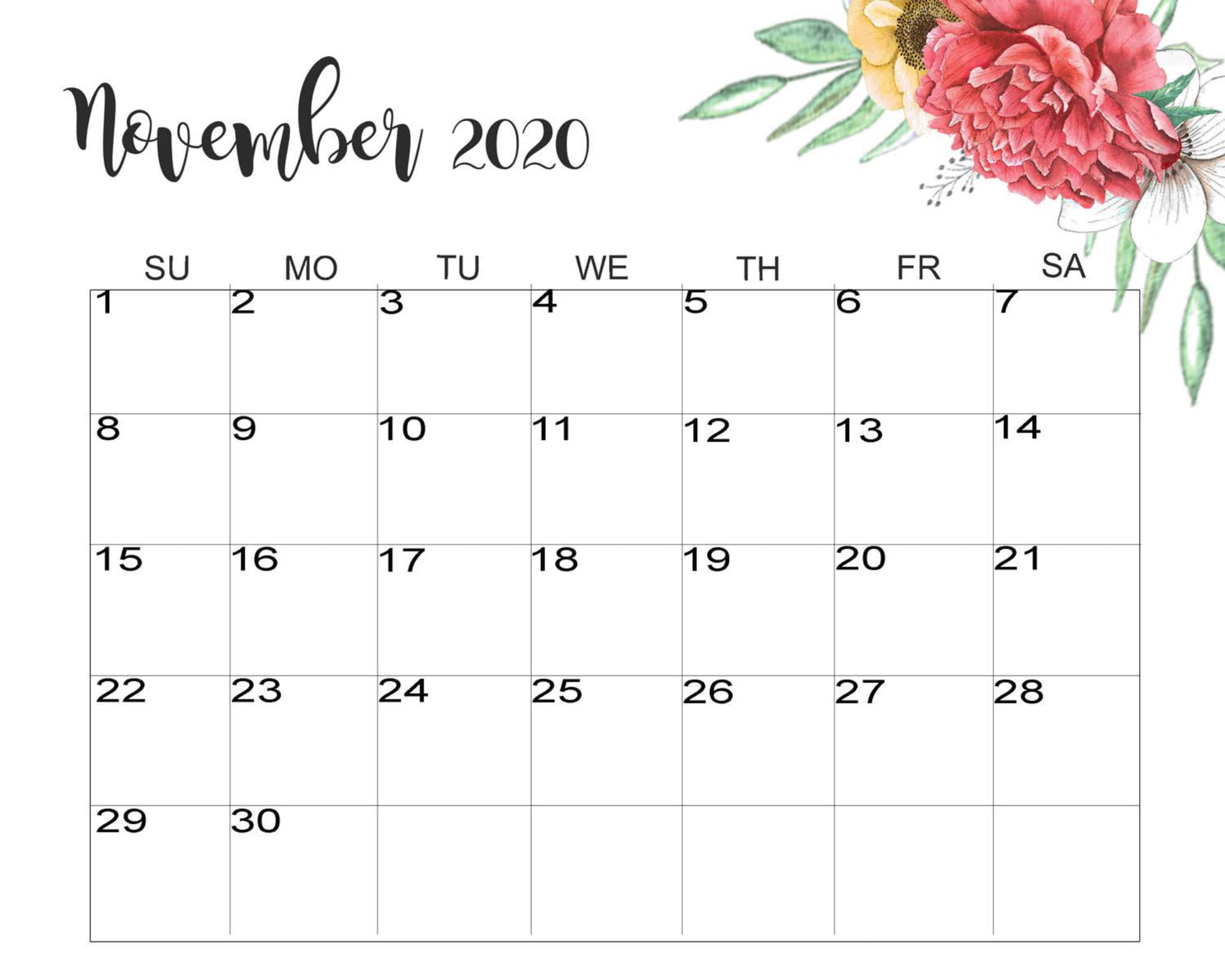 Floral November 2020 Calendar Cute - Latest Calendar ...