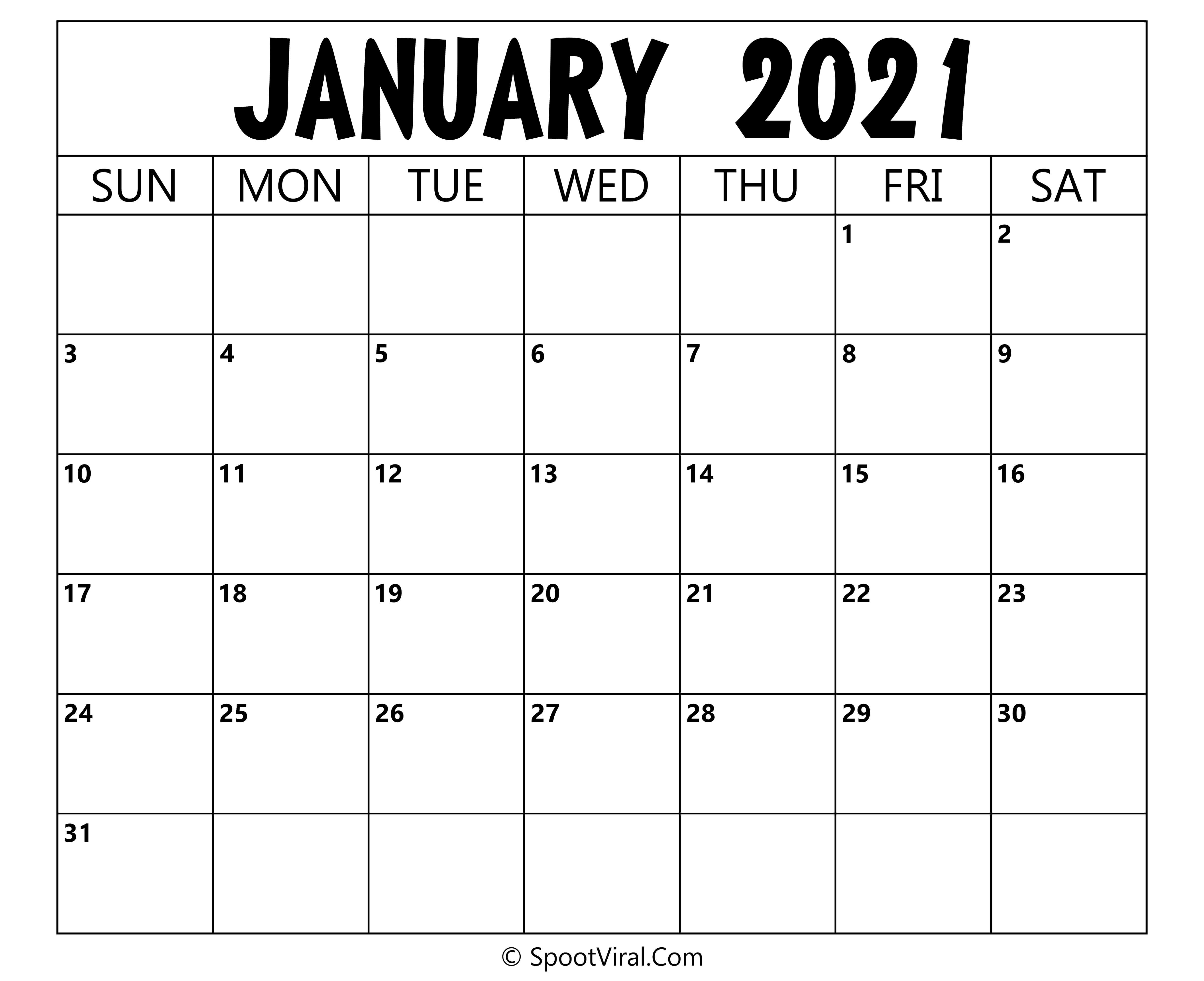 Blank January 2021 Calendar Printable - Latest Calendar ...