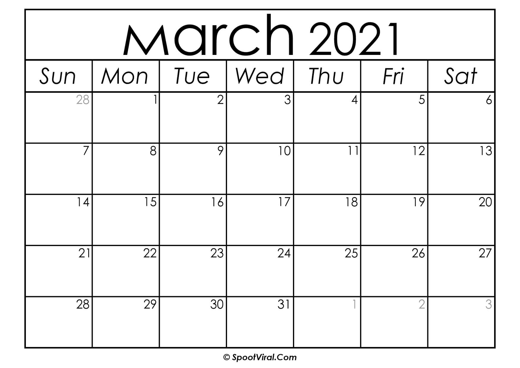 Blank March 2021 Calendar Printable - Latest Calendar ...