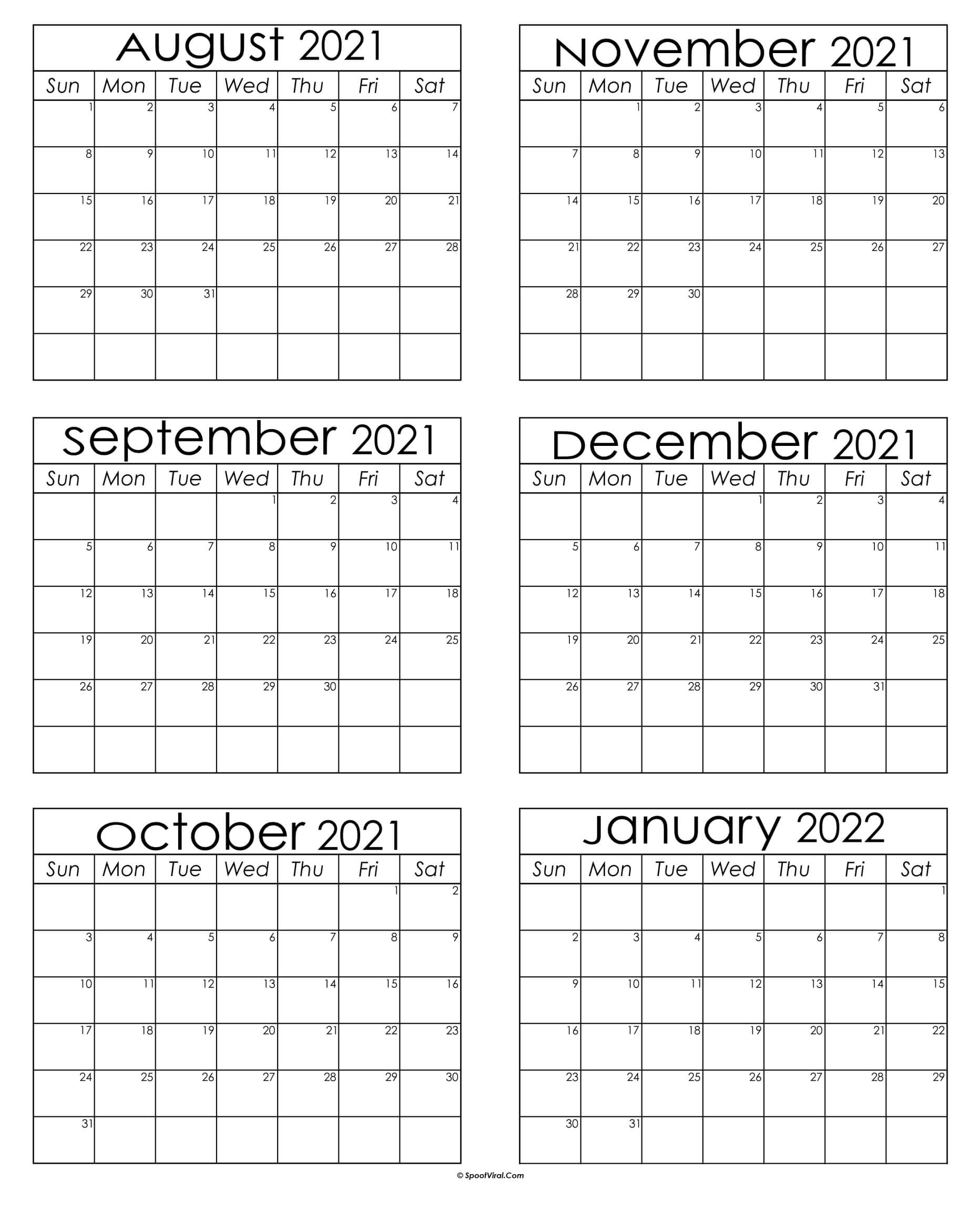 2021 August To January 2022 Calendar