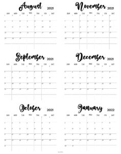 August 2021 To January 2022 Calendar