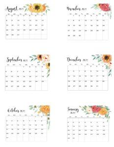 August 2021 To January 2022 Calendar Template