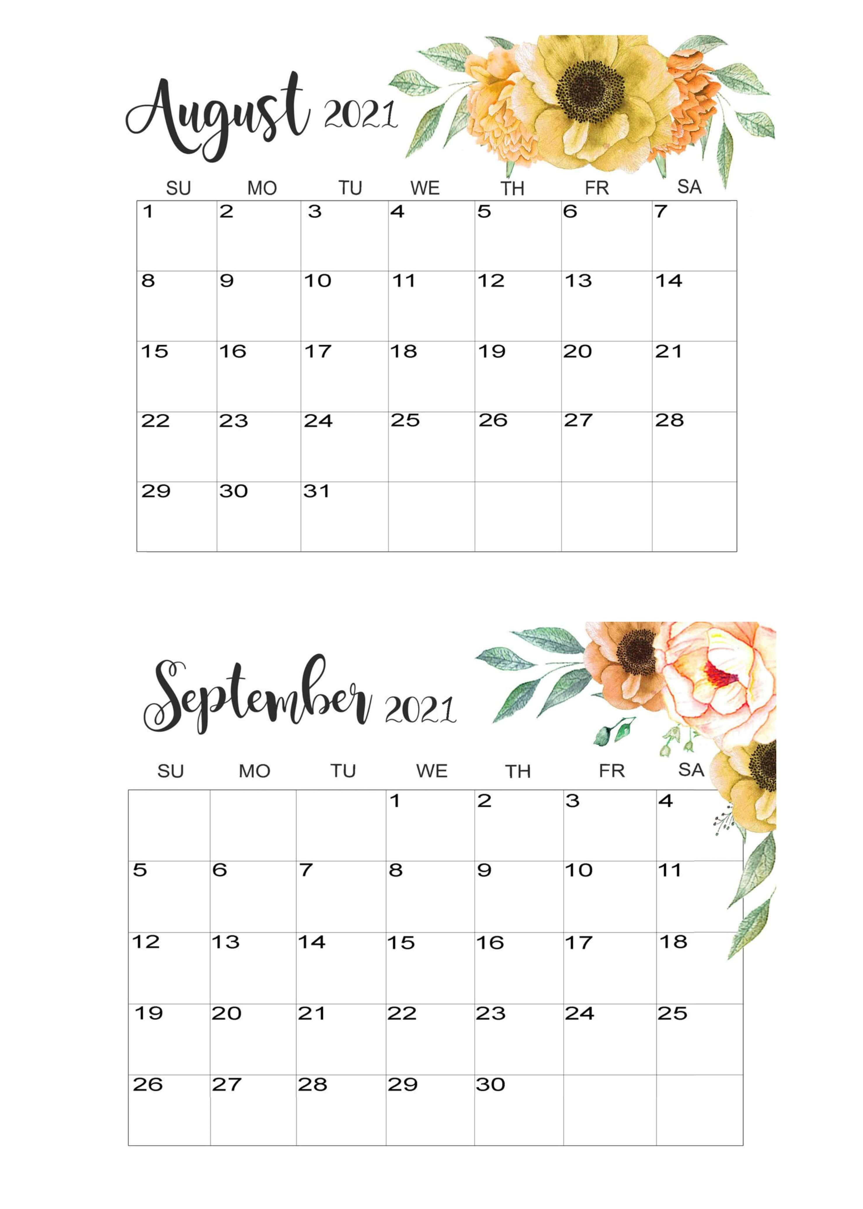 August September Calendar 2021 TemplateAugust September Calendar 2021 Template