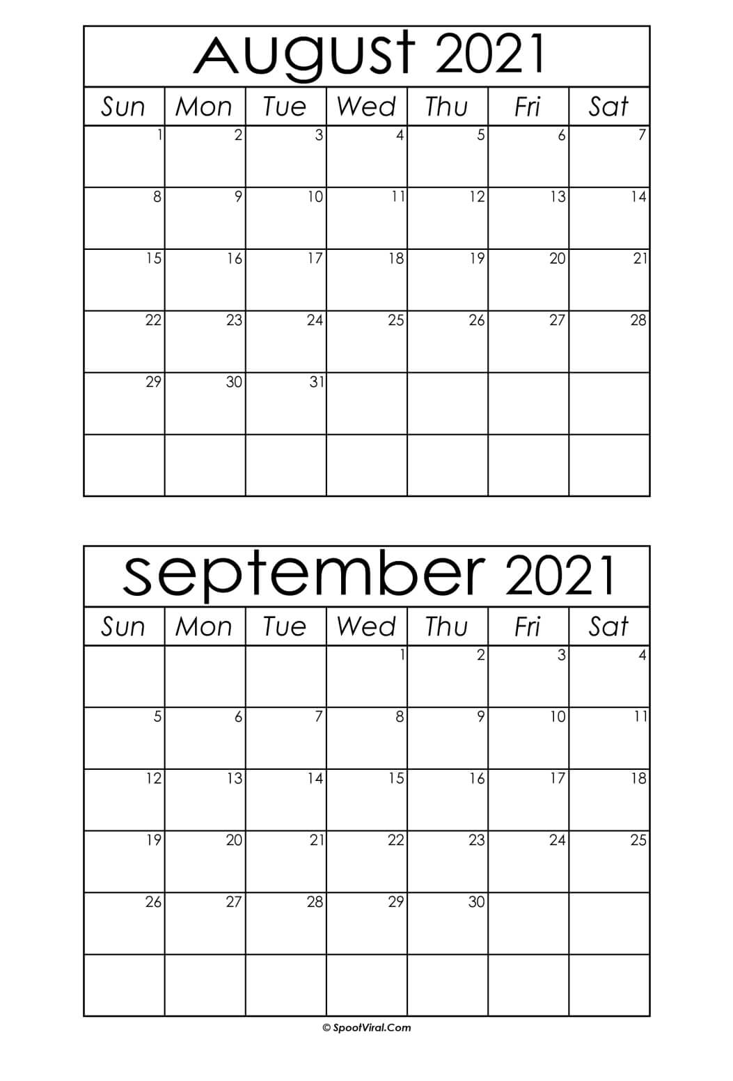 August September Calendar 2021
