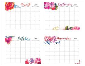 August To November 2021 Calendar Cute