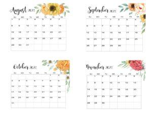 August To November 2021 Calendar Template