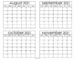 August To November Calendar 2021