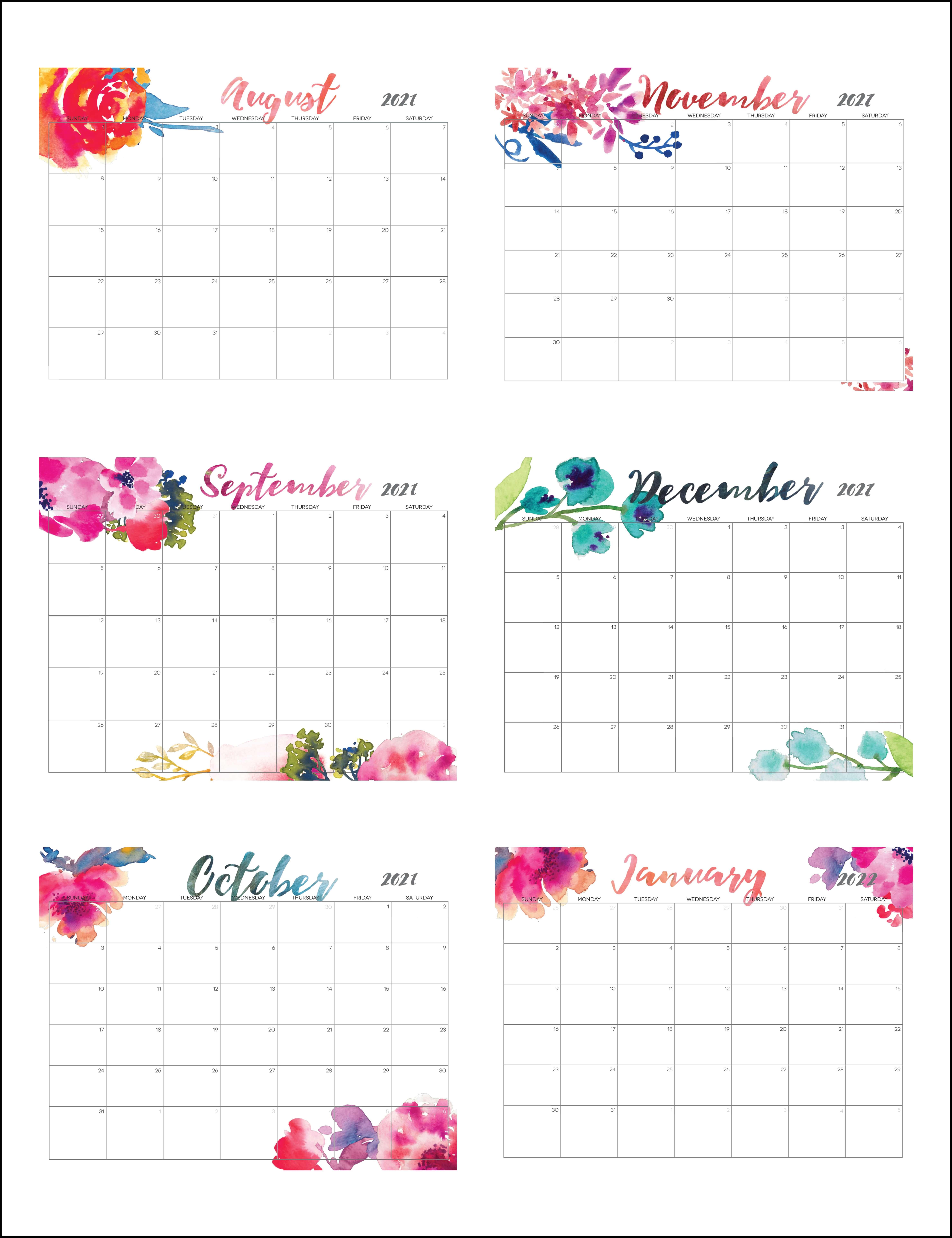 Cute August 2021 To January 2022 Calendar