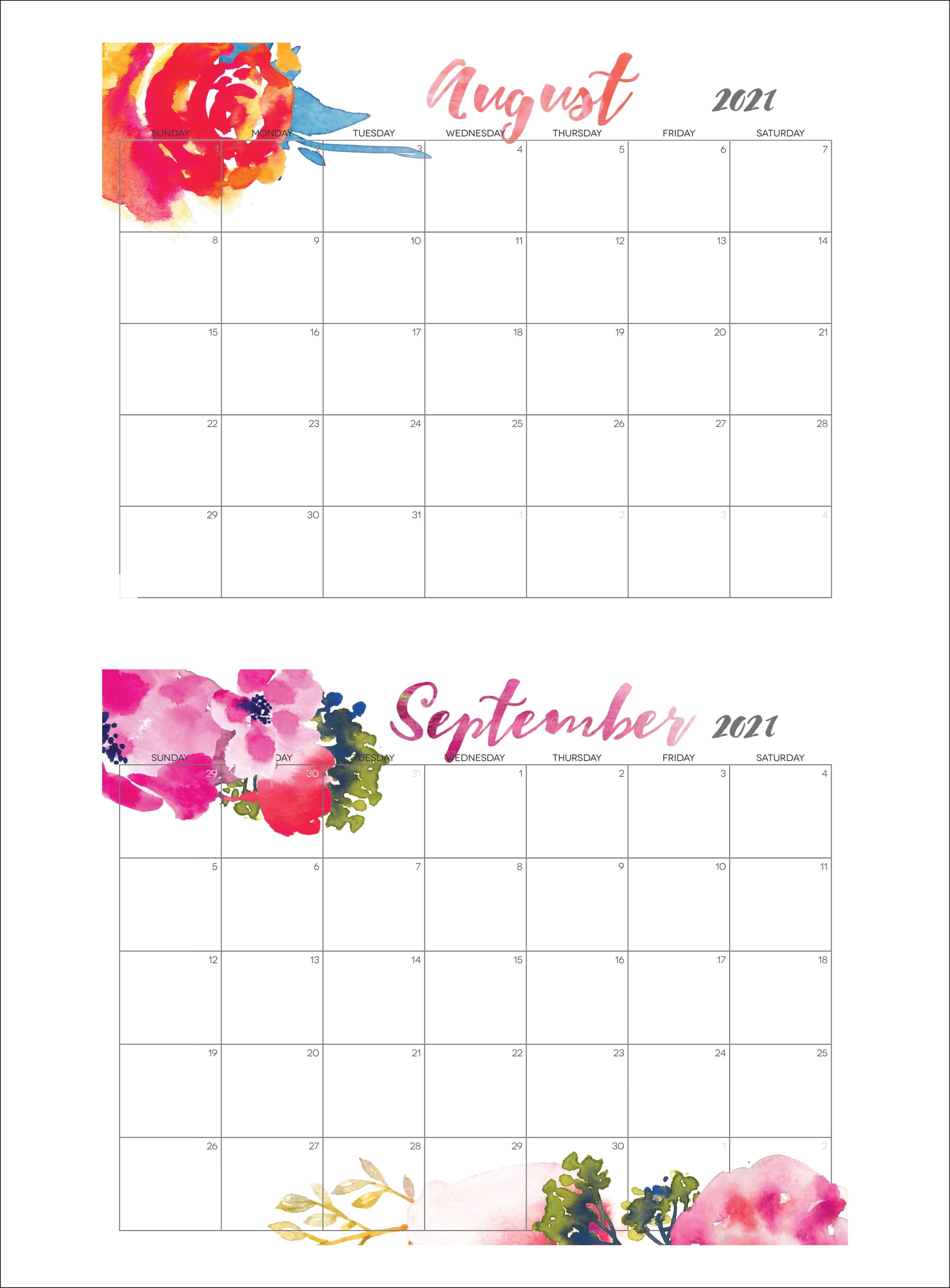 Cute August September 2021 Calendar