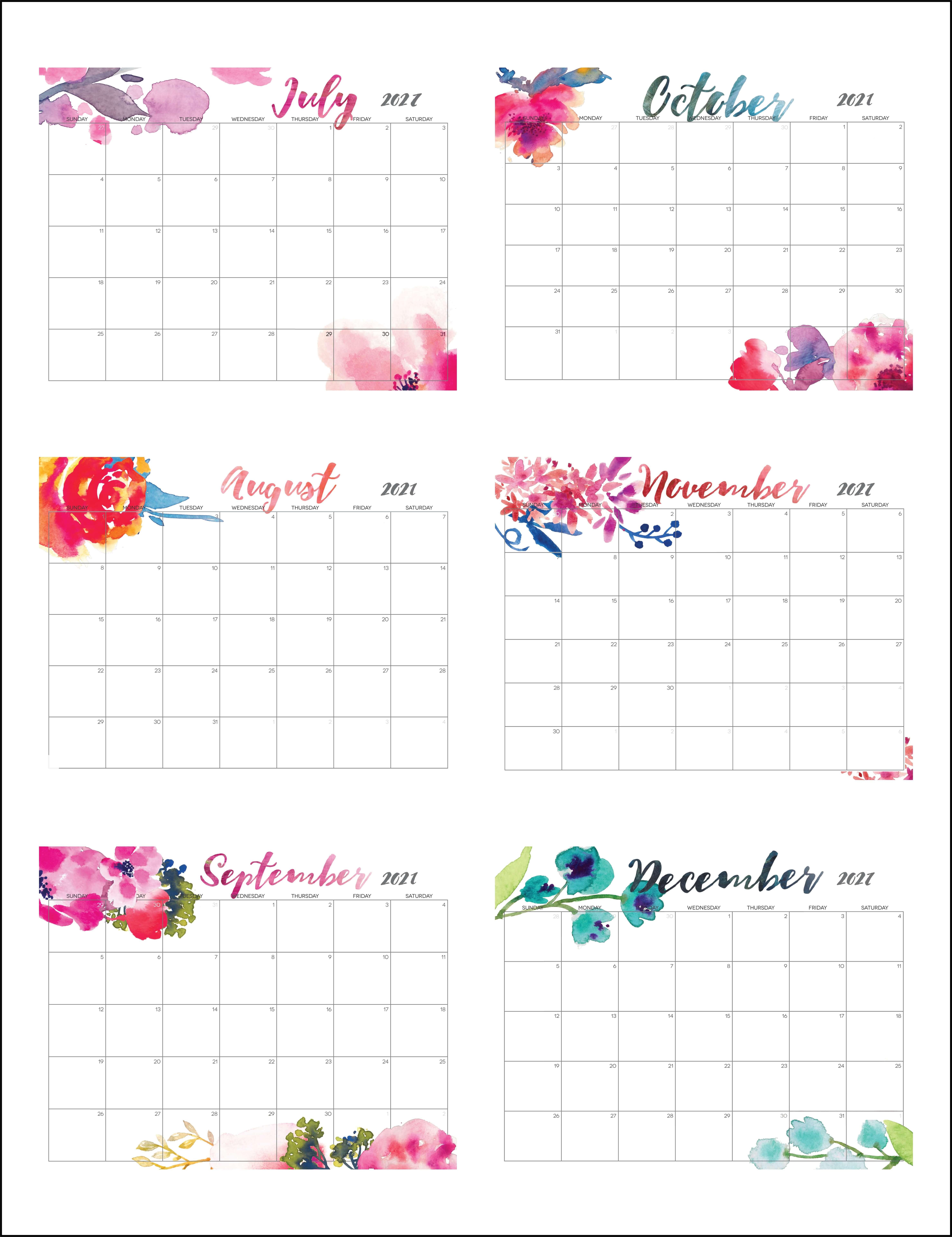Cute July To December 2021 Calendar