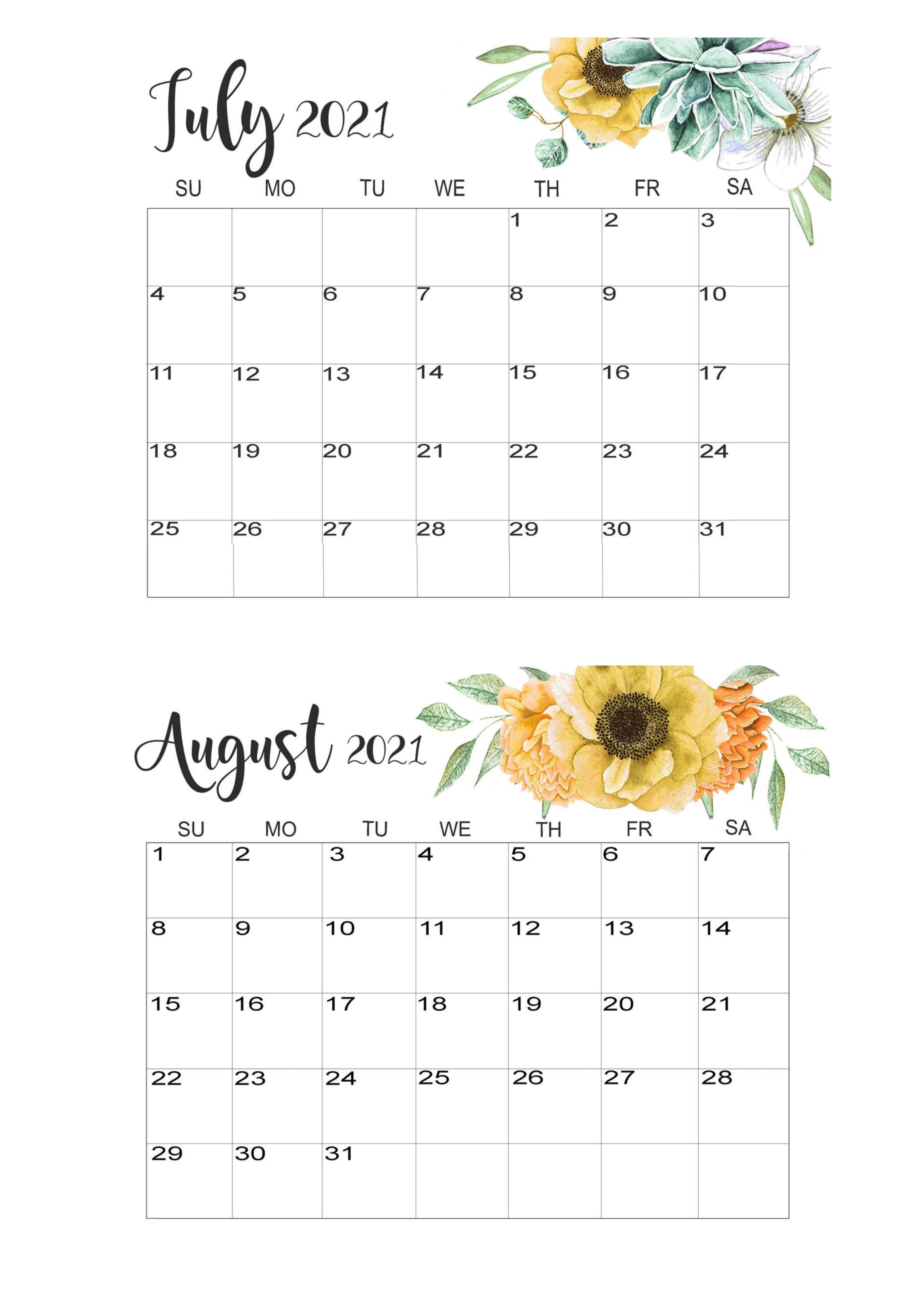 July August Calendar 2021 Template