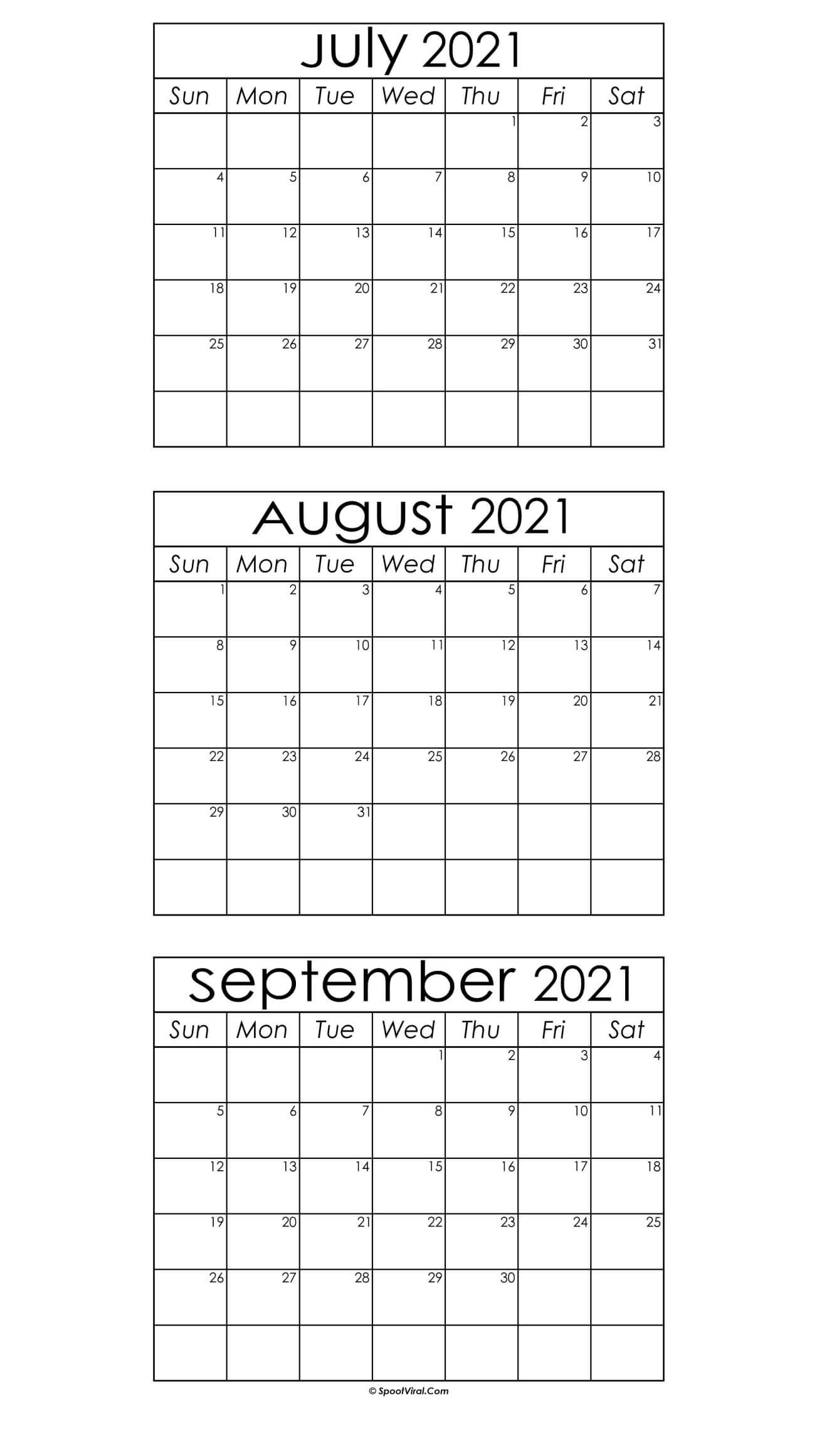 July September Calendar 2021