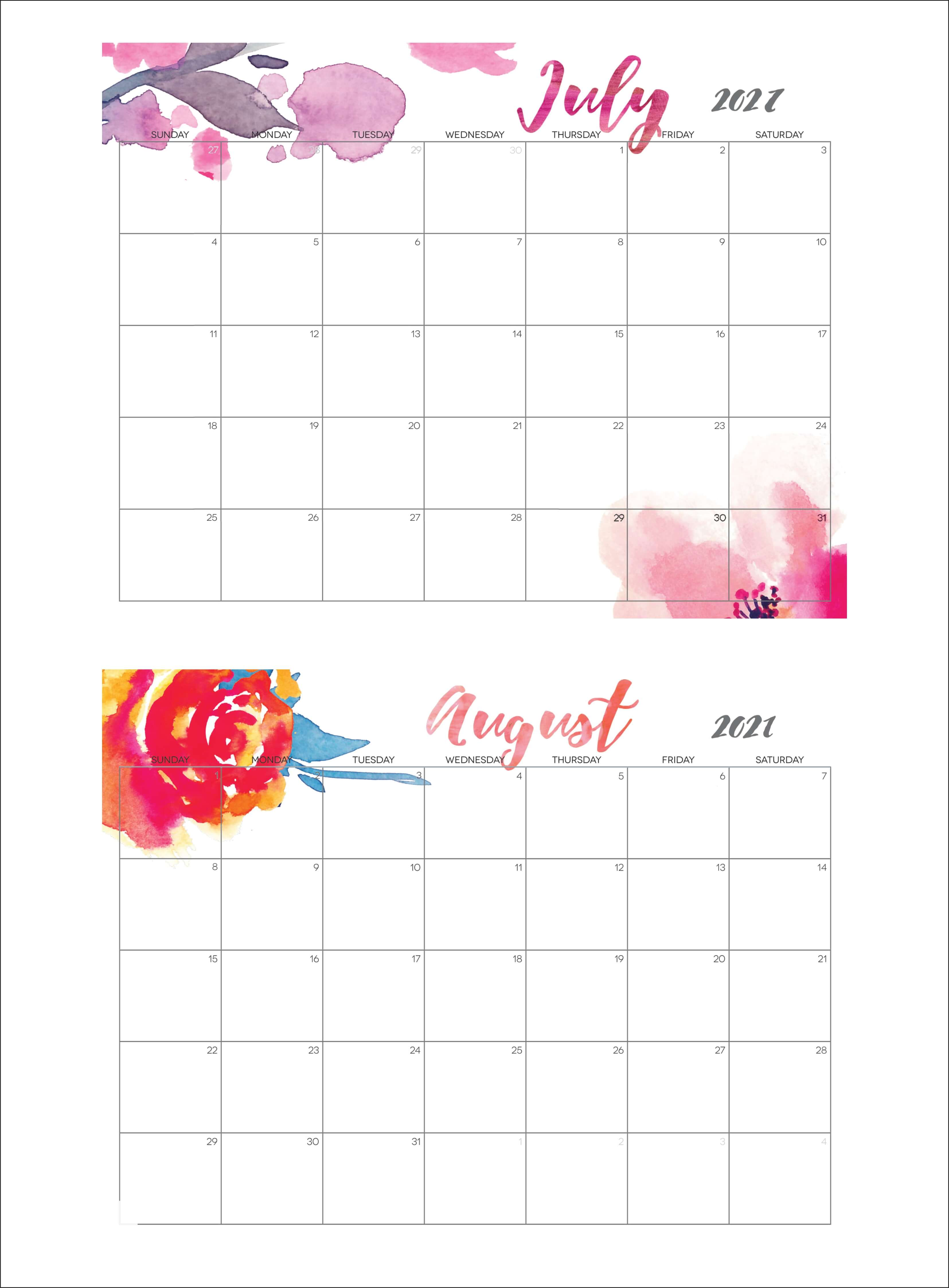Cute July August 2021 Calendar