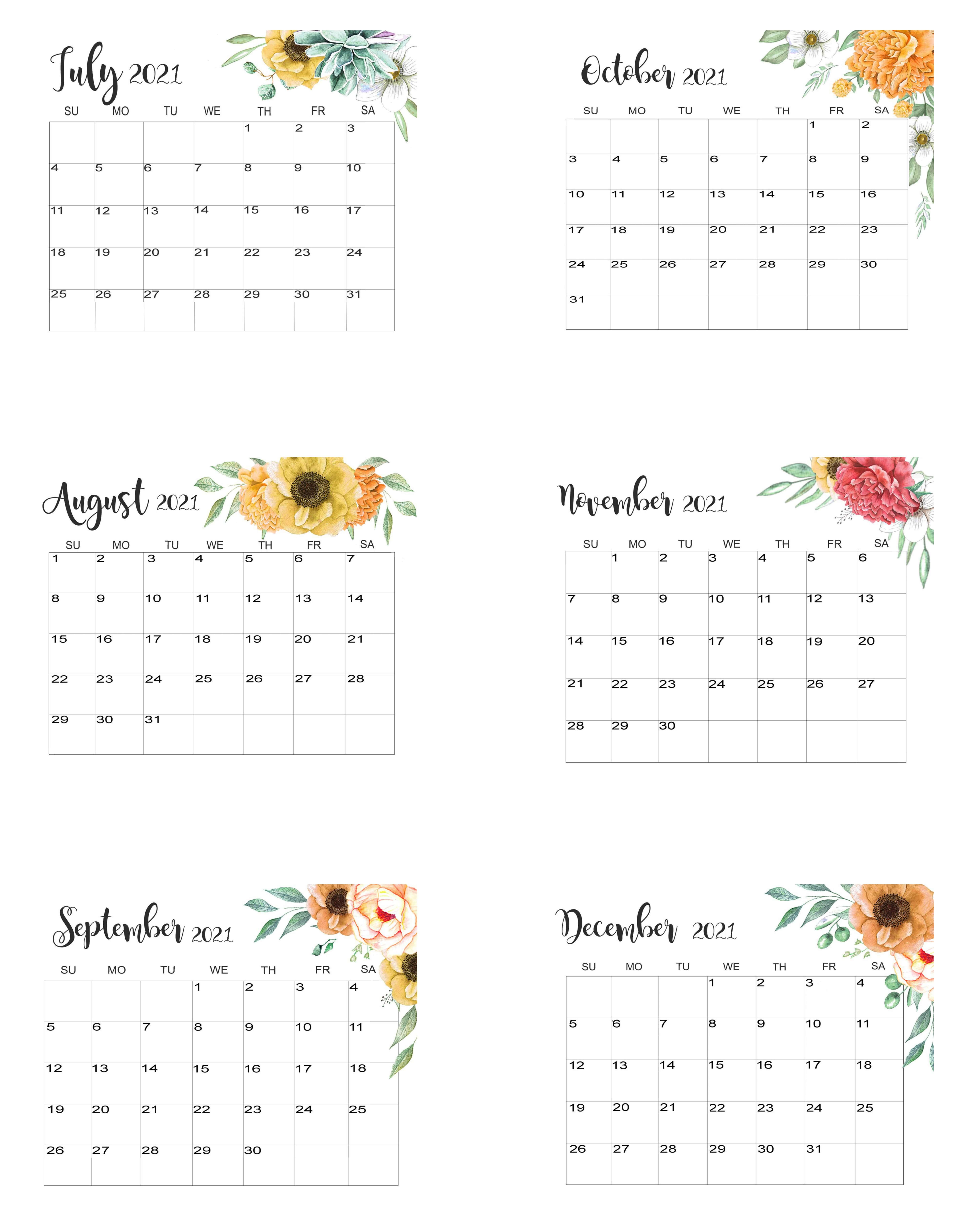 July To December 2021 Calendar Template