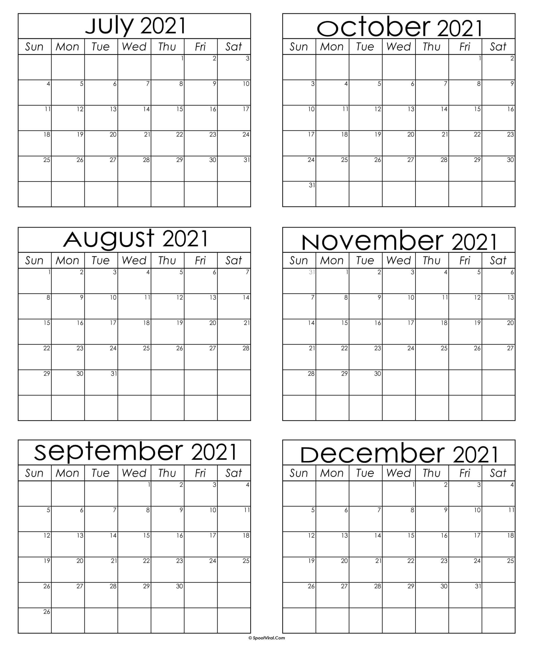 July To December Calendar 2021