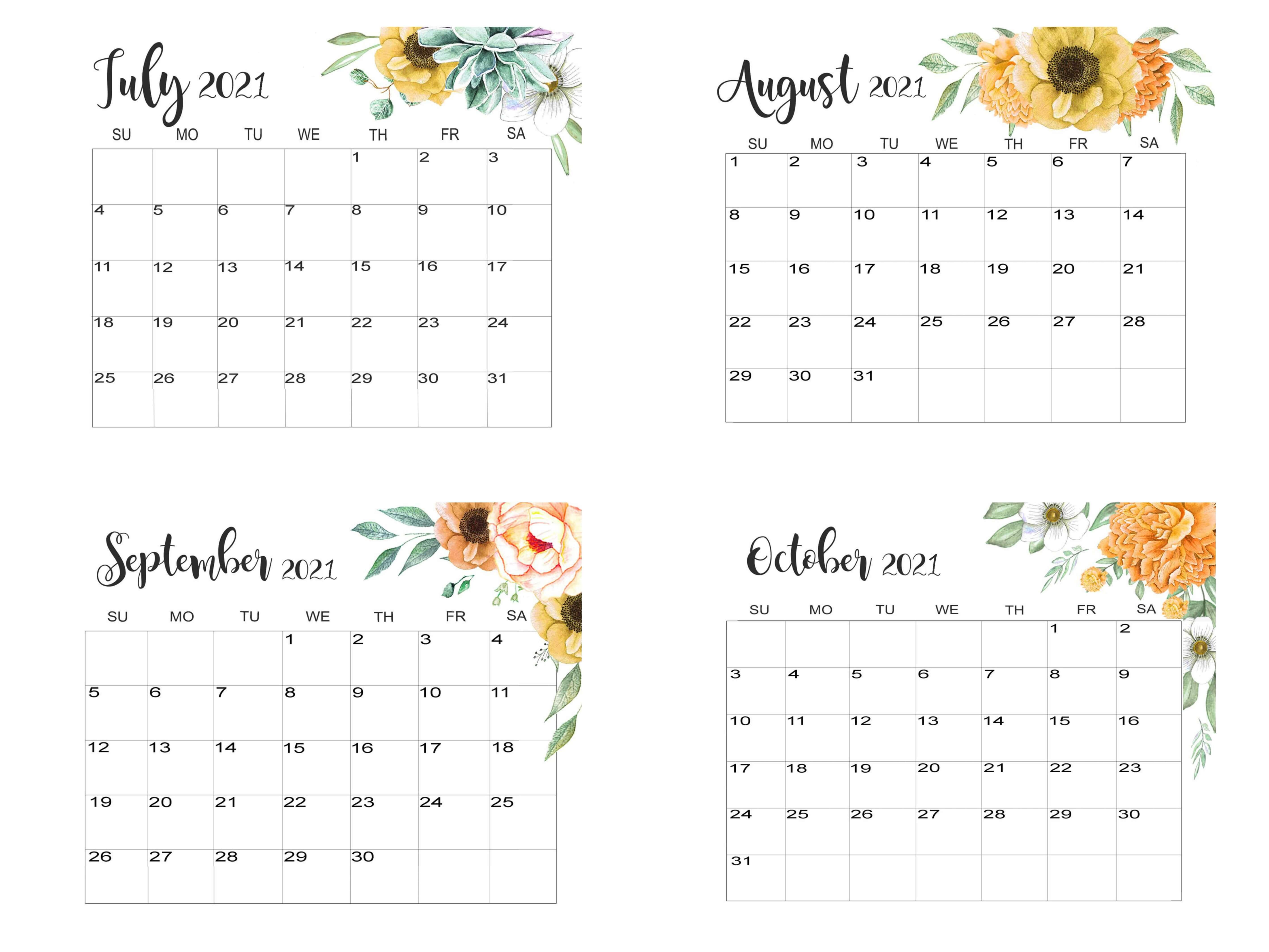 July To October 2021 Calendar Template