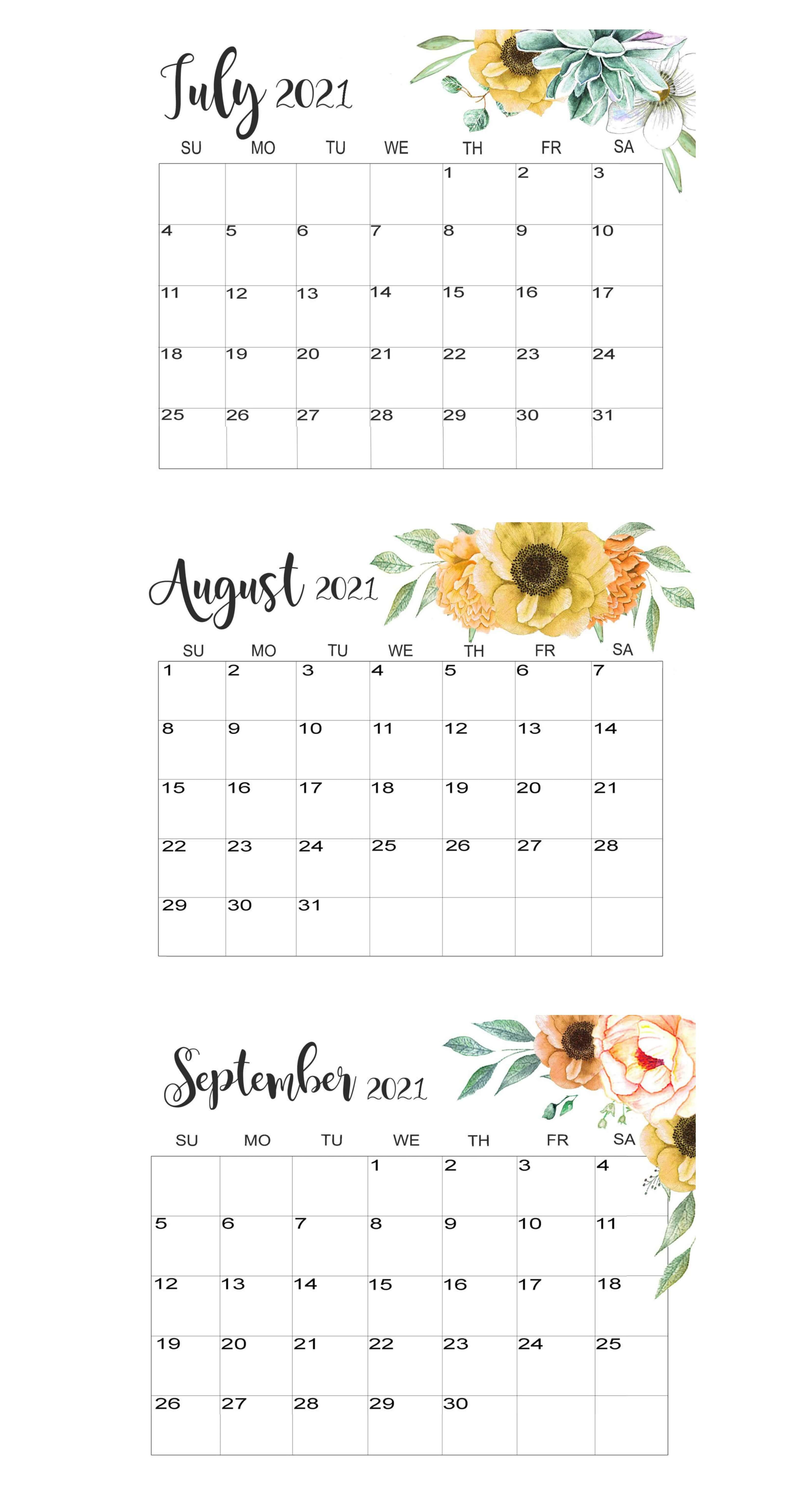 July To September 2021 Calendar Template
