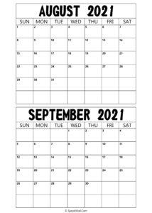 Printable August September 2021 Calendar,