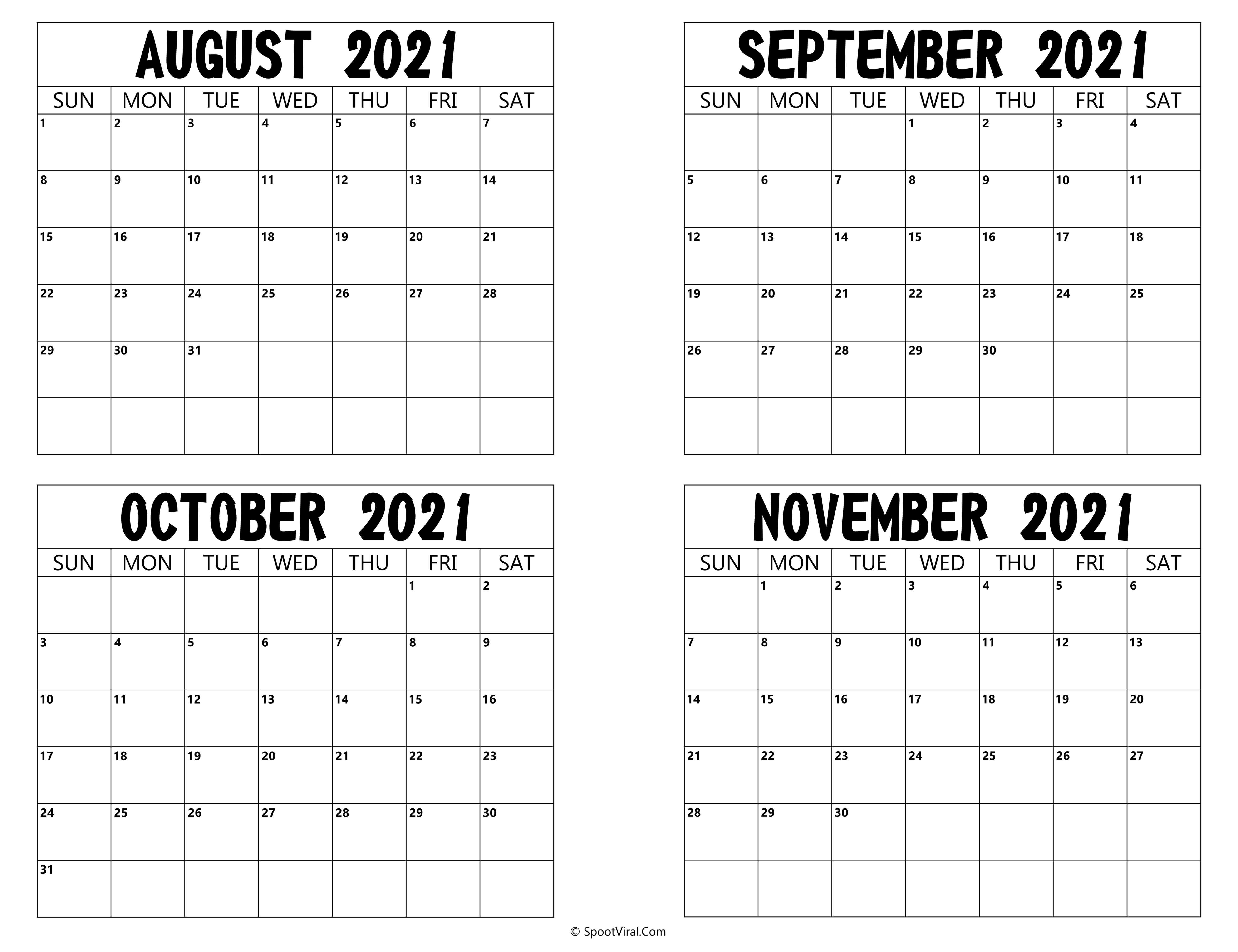 Printable August To November 2021 Calendar