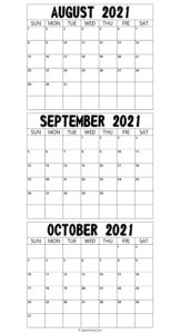 Printable August To October 2021 Calendar