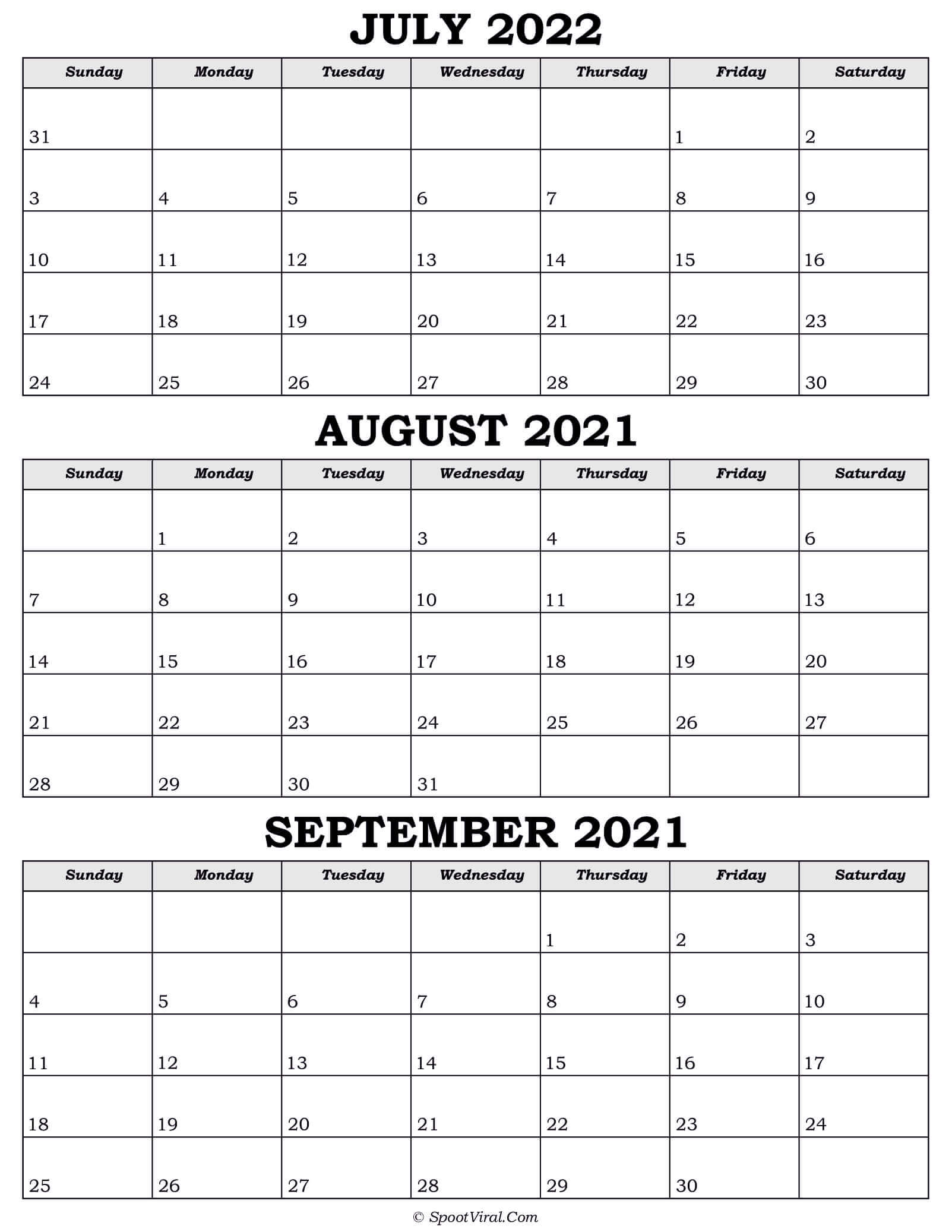 Calendar July August September 2022