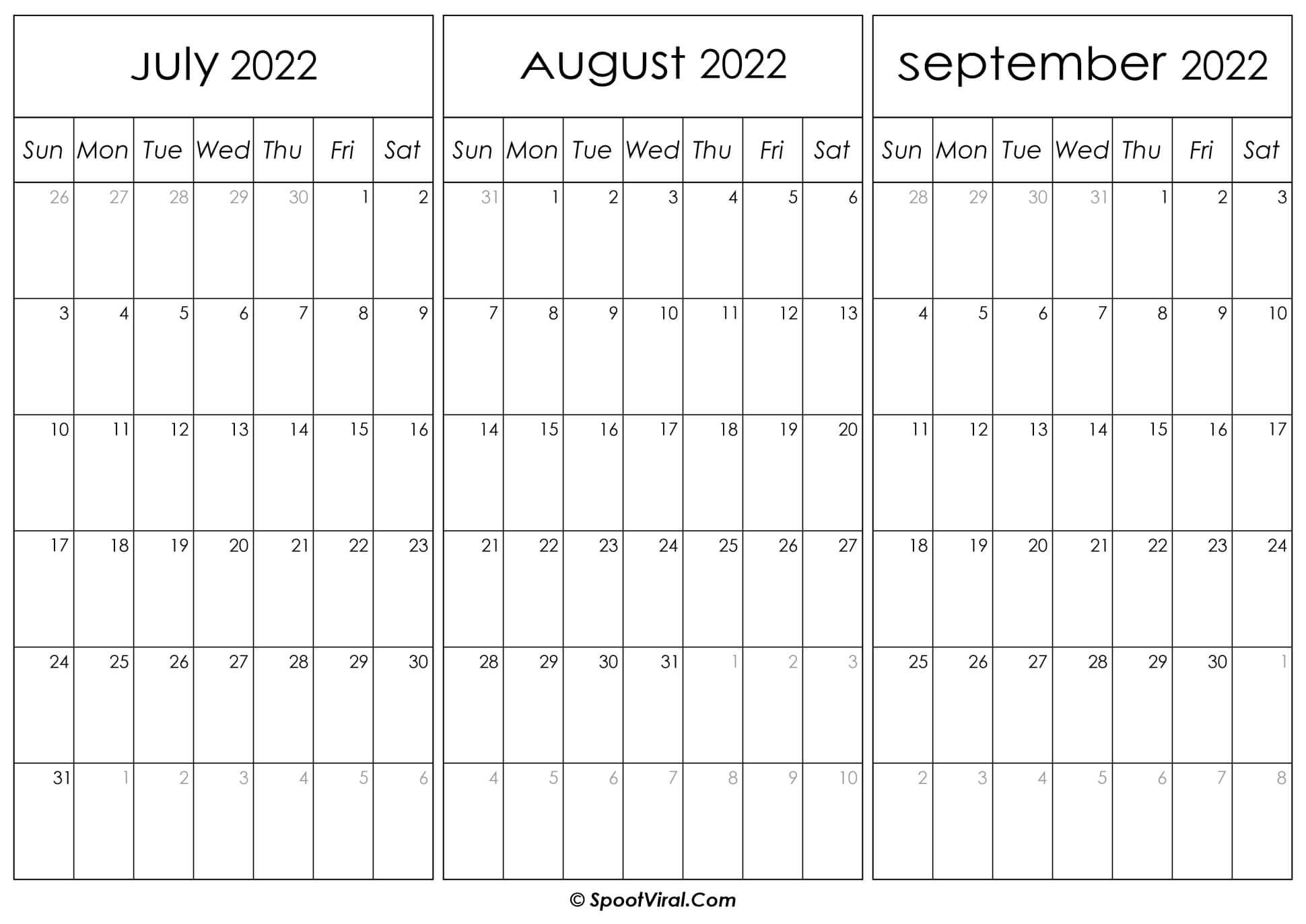 July August and September Calendar 2022