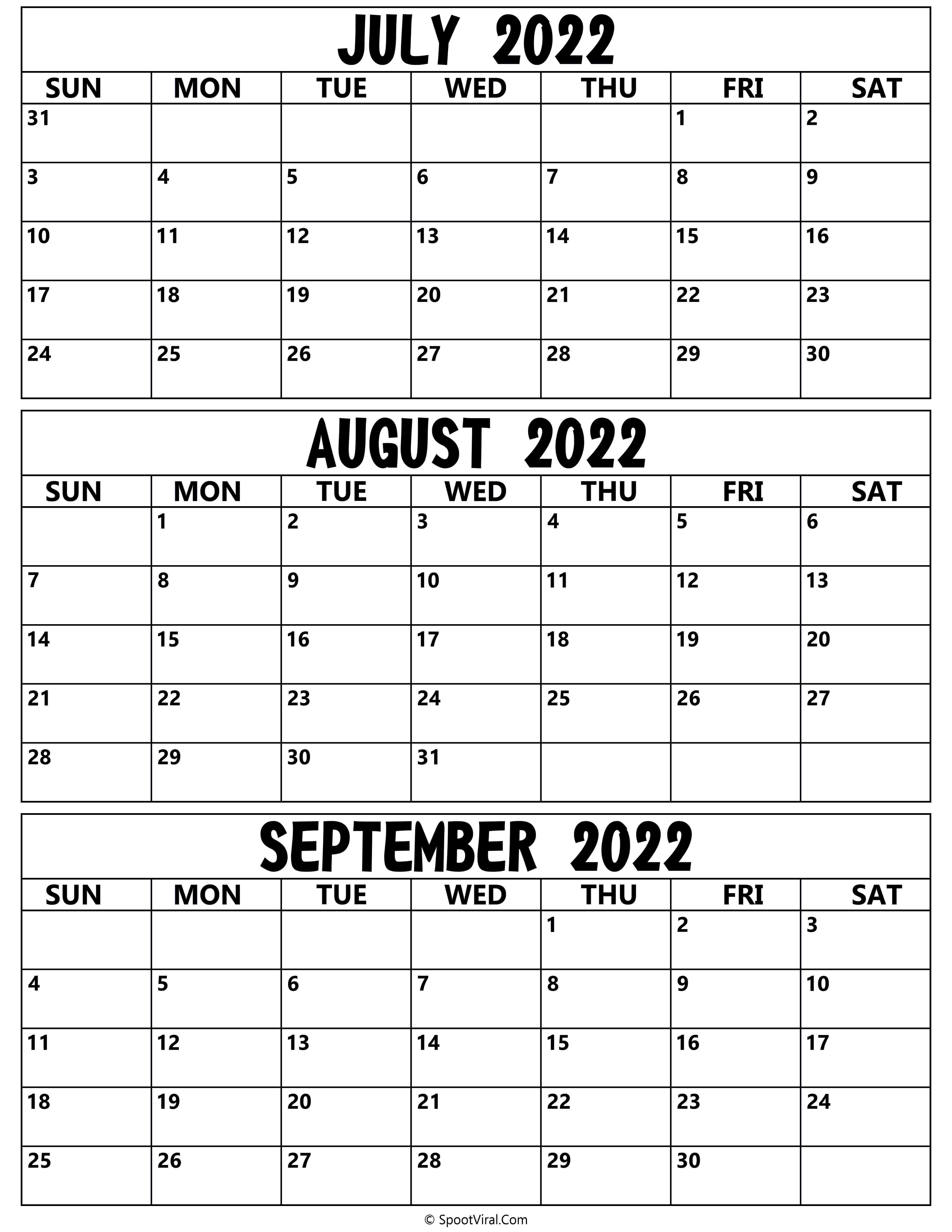 July to September 2022 Calendar