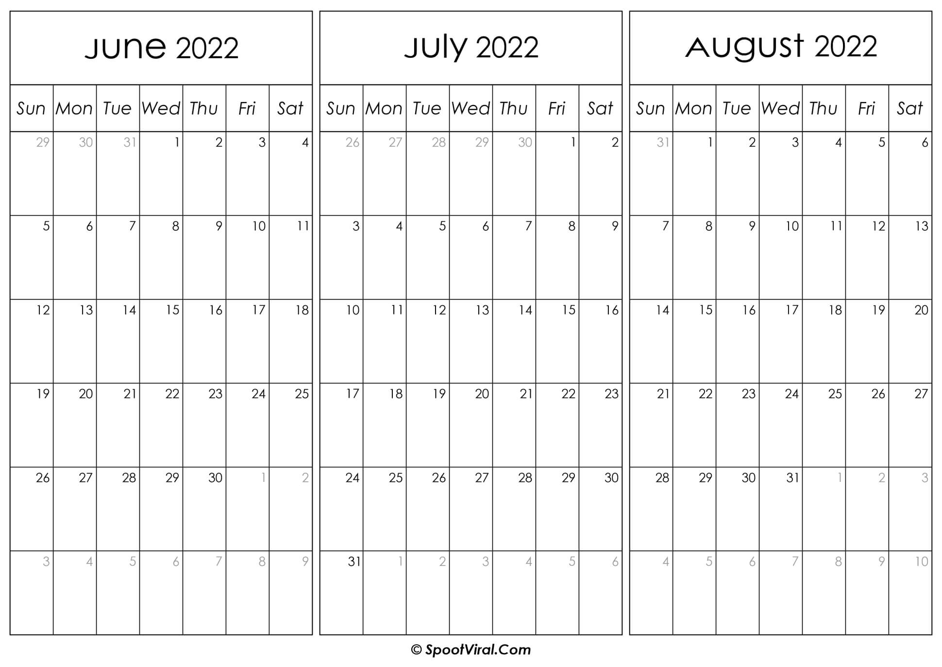 June July and August Calendar 2022