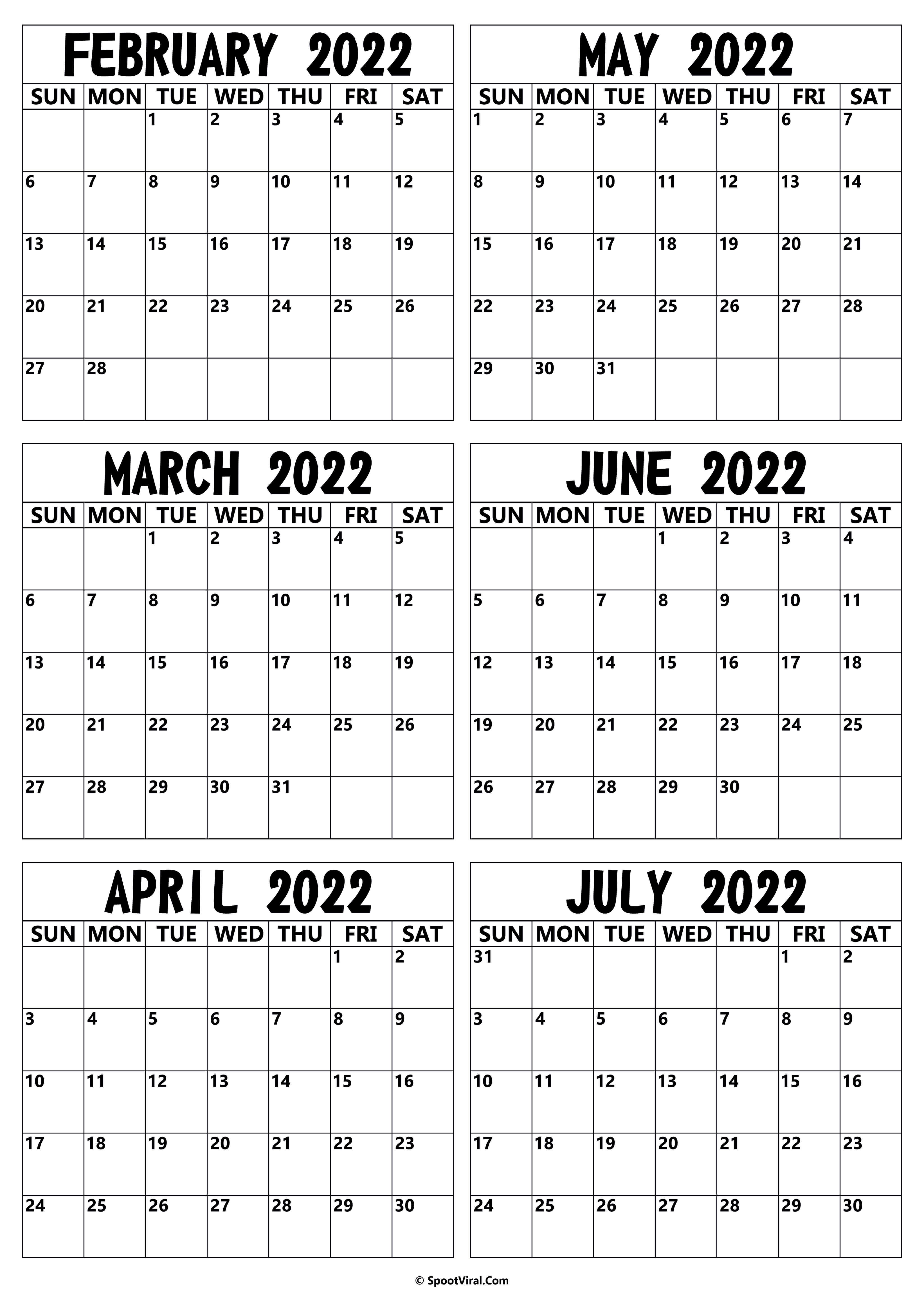2022 February to July Calendar