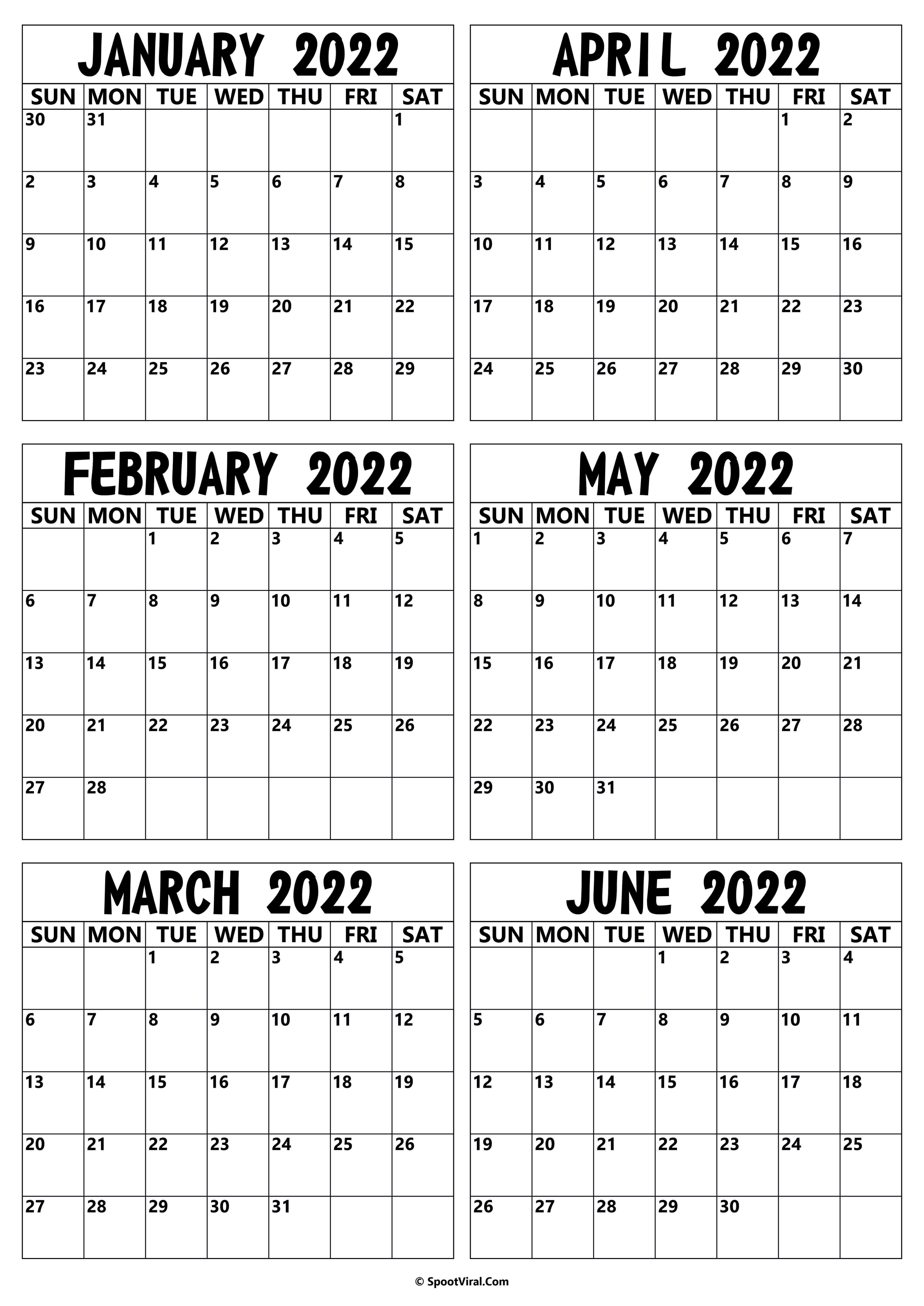 2022 January to June Calendar
