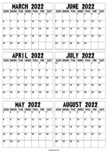 2022 March to August Calendar