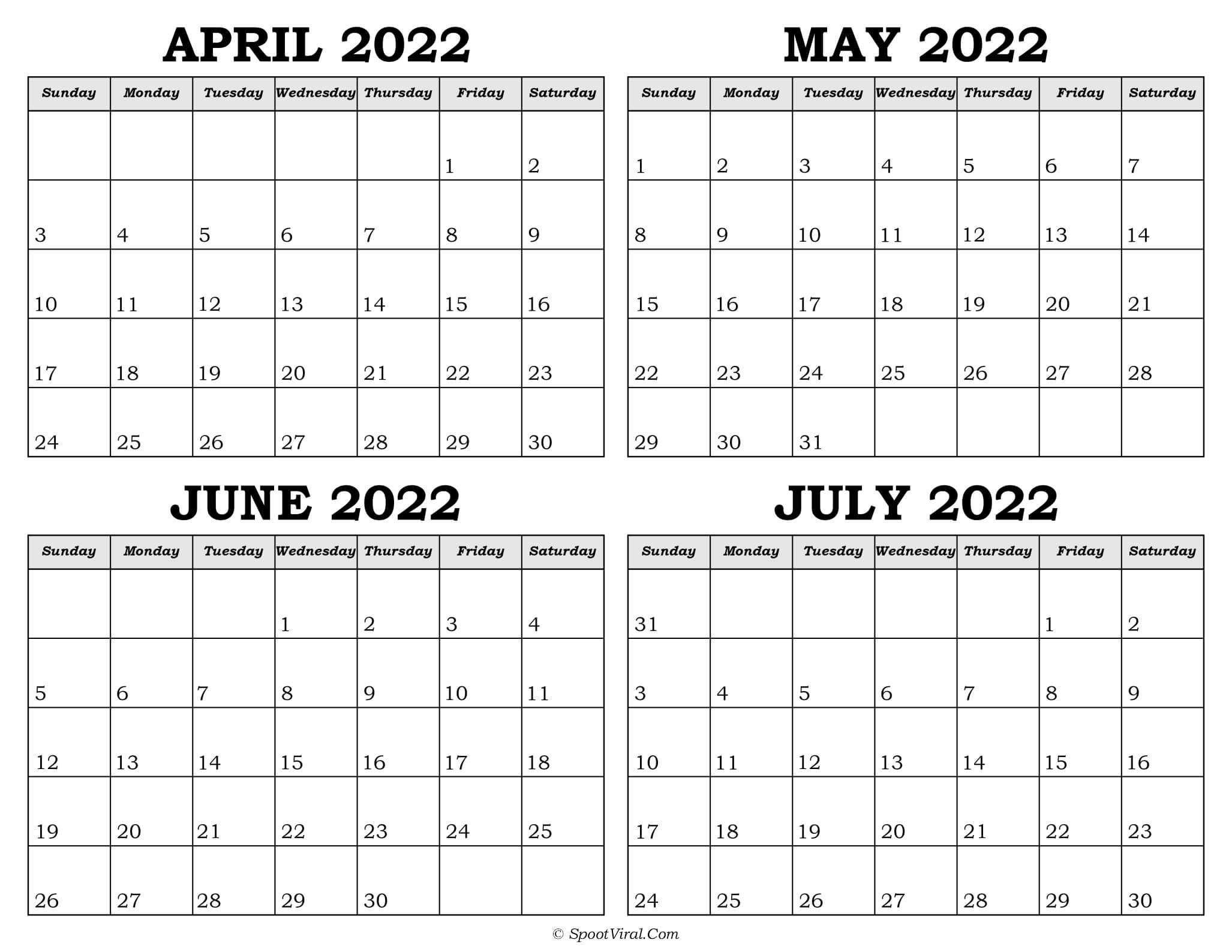 Calendar April to July 2022