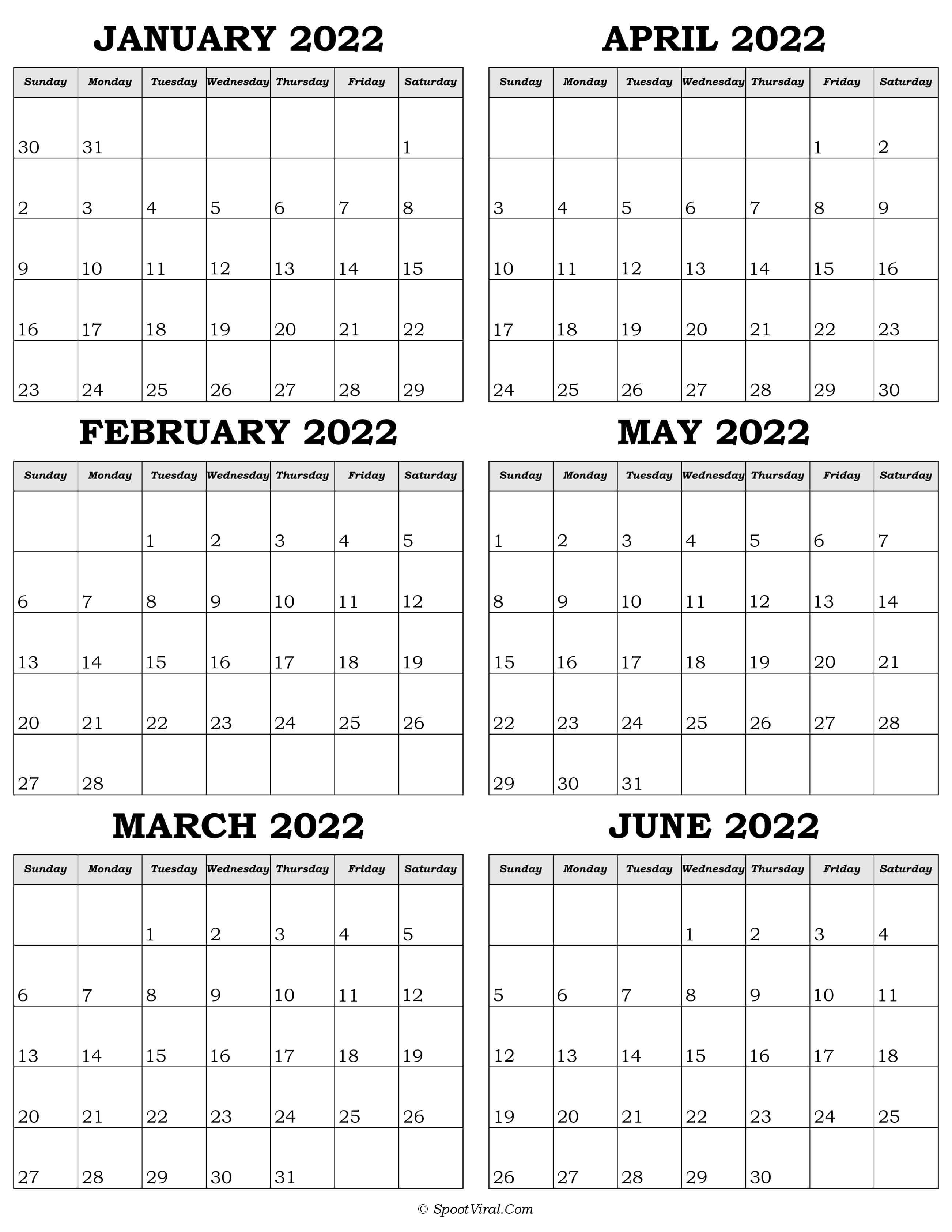 Calendar January to June 2022