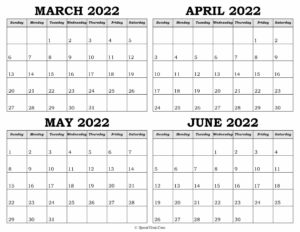Calendar March to June 2022