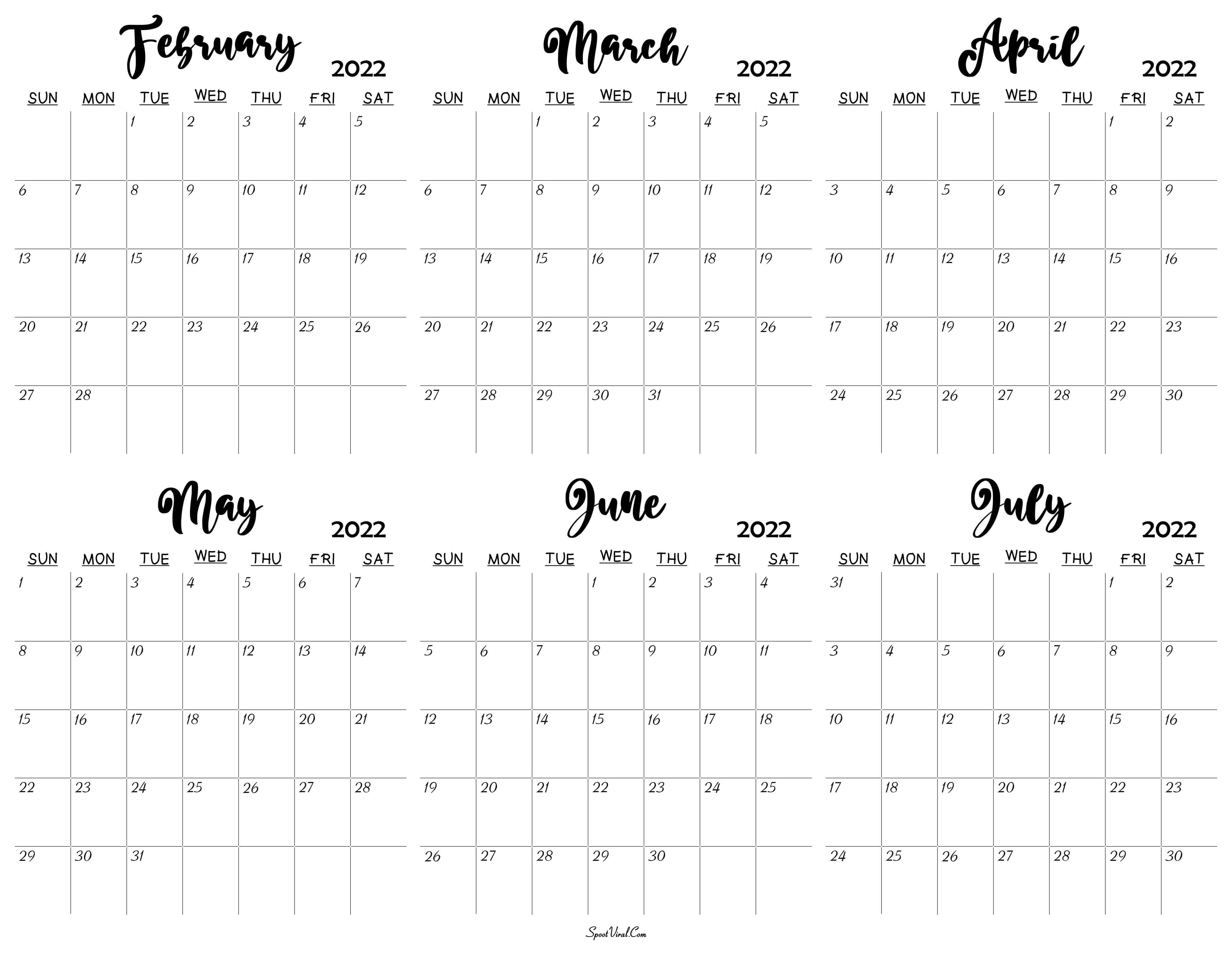 February to July 2022 Calendar