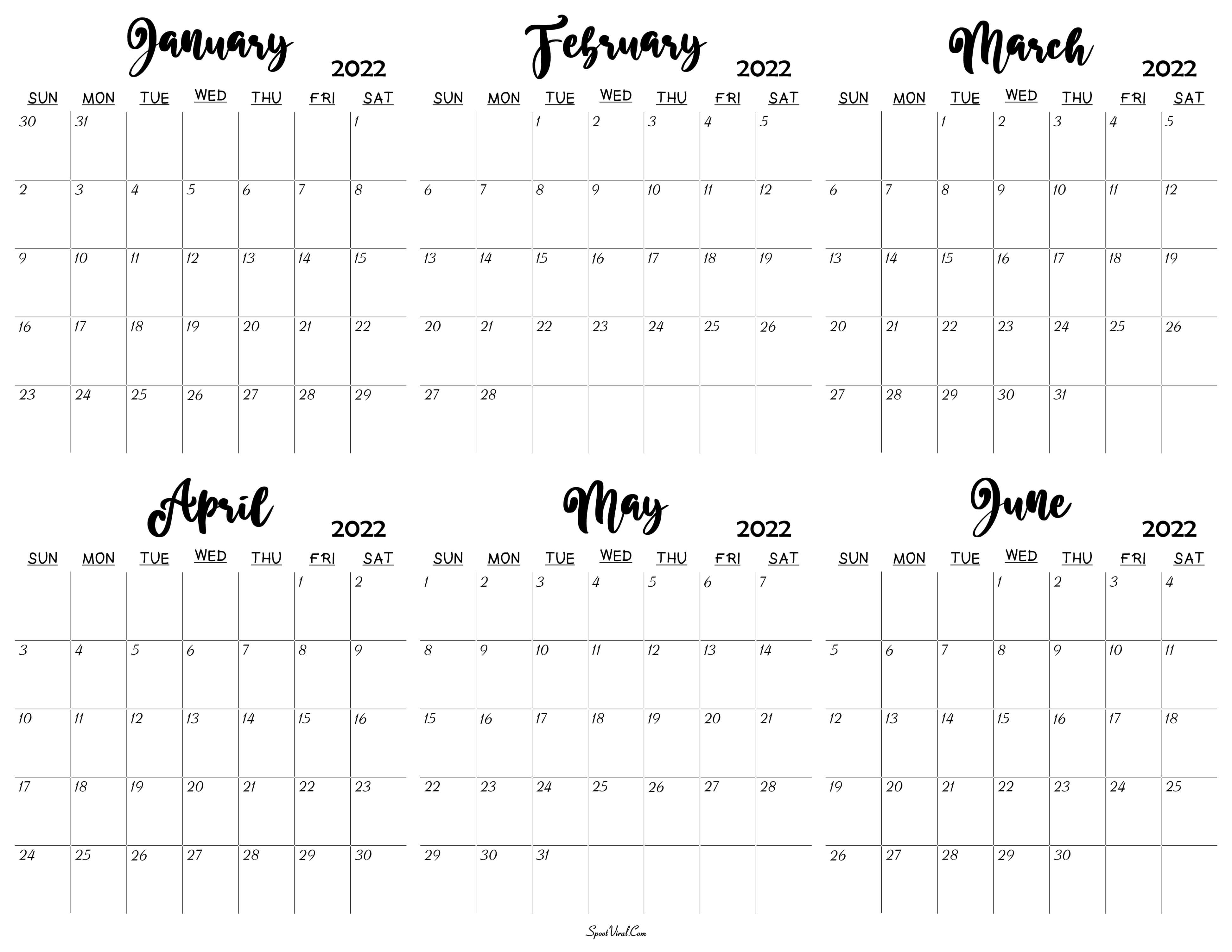January to June 2022 Calendar