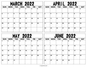 March April May June 2022 Calendar