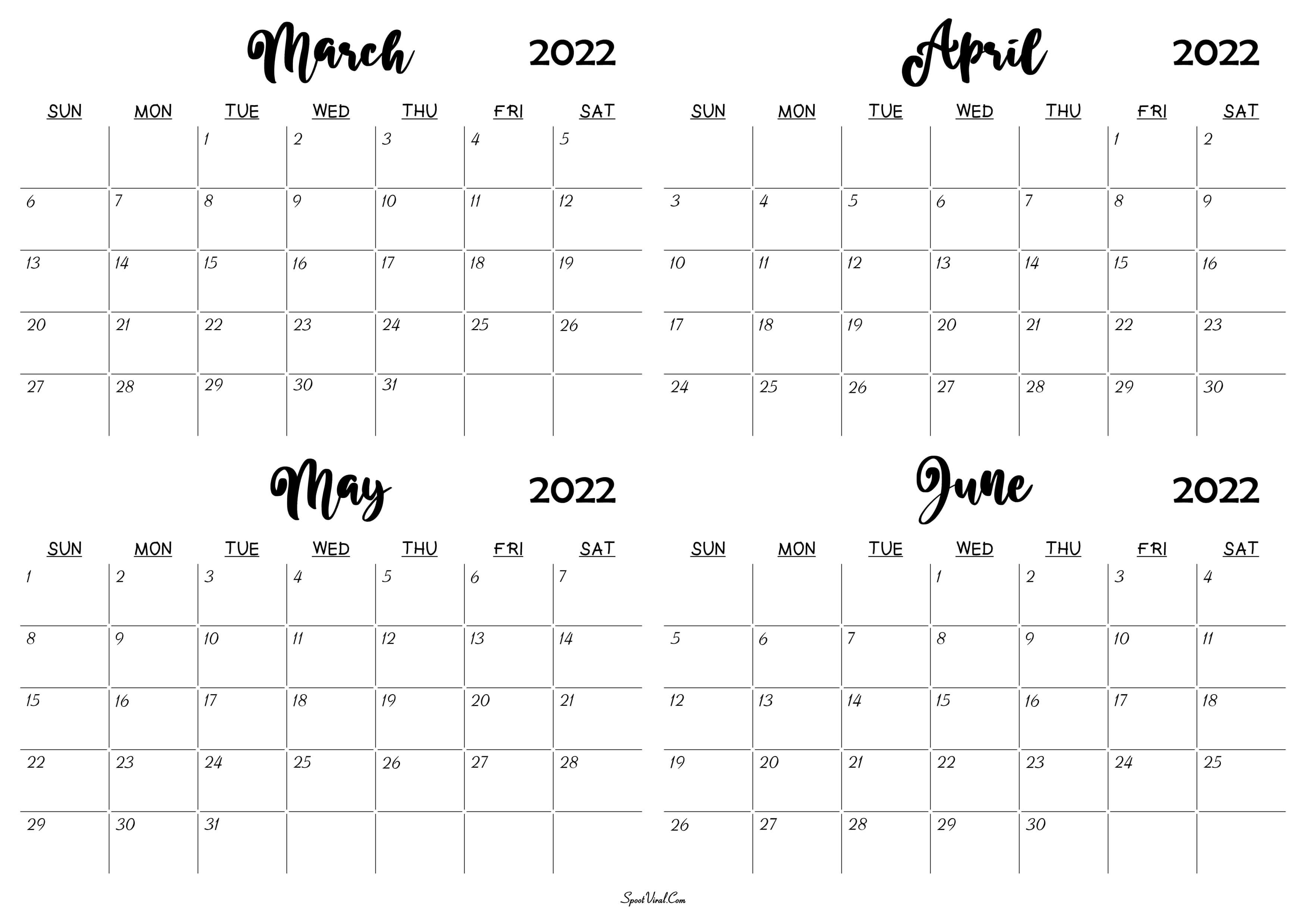 March to June 2022 Calendar