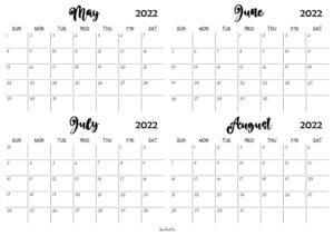 May to August 2022 Calendar