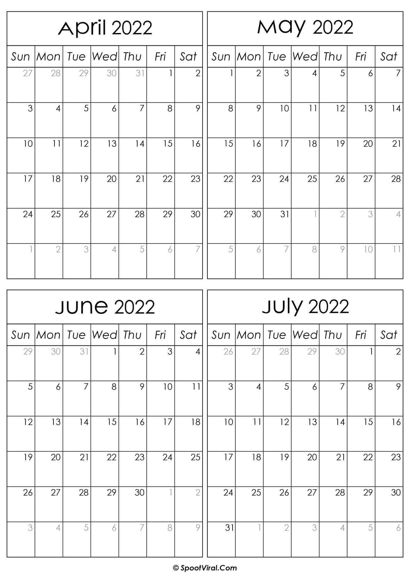 Printable April to July 2022 Calendars