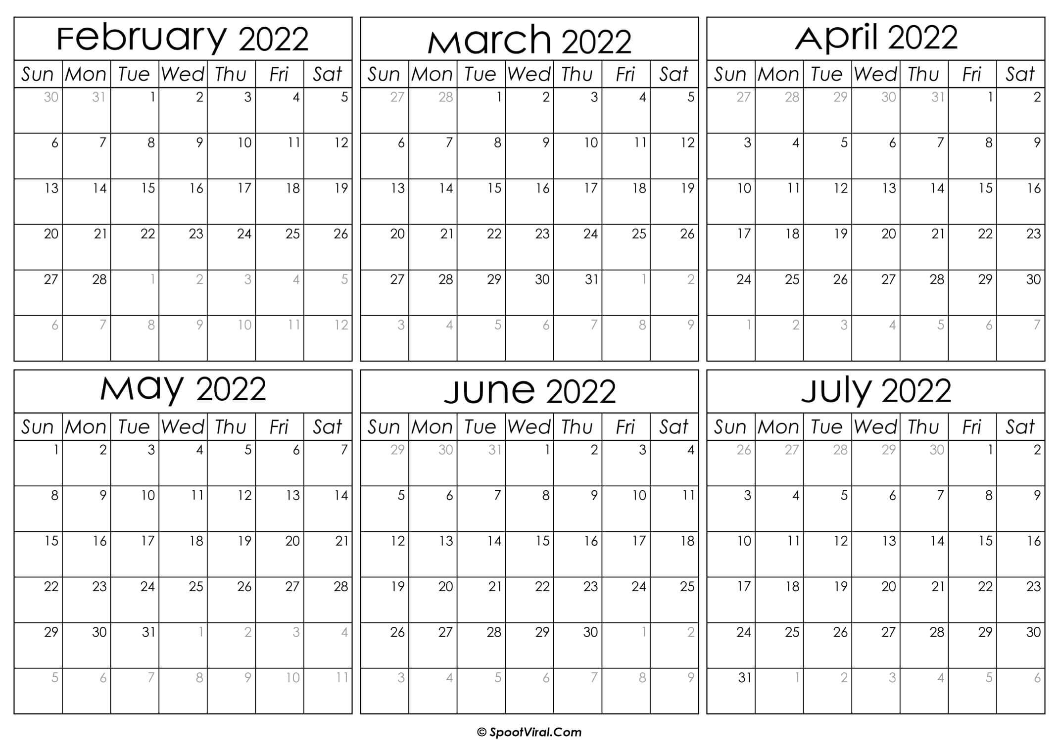 Printable February to July Calendar 2022
