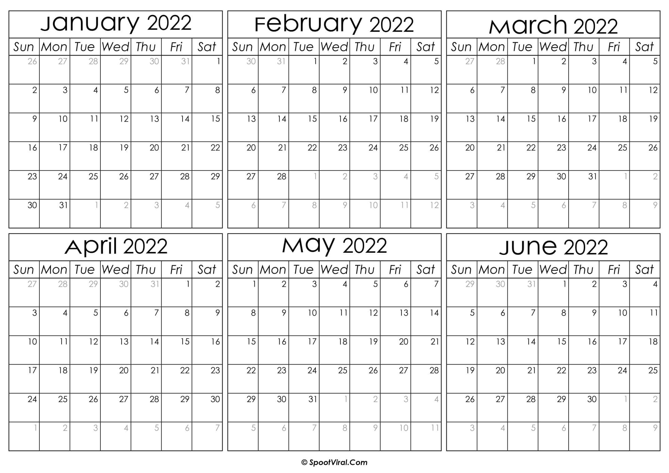 Printable January to June Calendar 2022