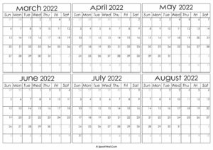 Printable March to August Calendar 2022