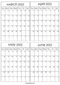 Printable March to June 2022 Calendars