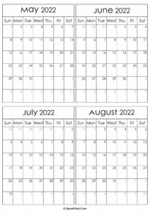Printable May to August 2022 Calendars
